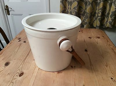 Vintage Ceramic Bed Pan / Pail / Commode / Bucket with Wicker Handle