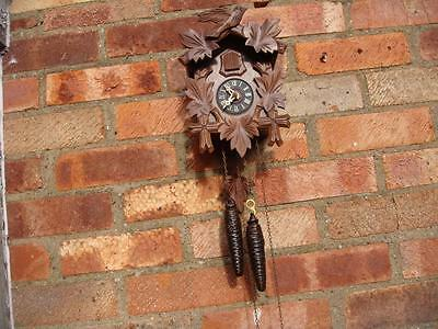 Small German  cuckoo Wall  clock With Pair of Weigh & Pendulum  See Video