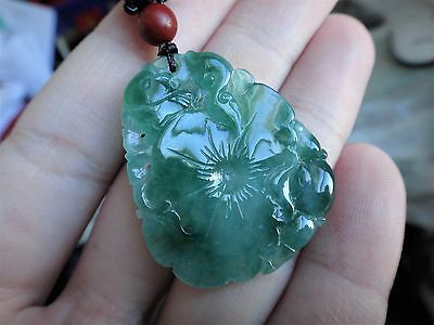 Natural Genuine A Jadeite Jade Icy Green Lucky Fish Lotus Coin Pendant