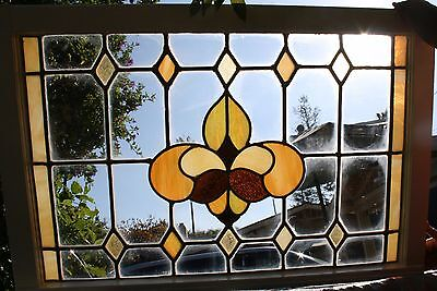 """Antique Stained Glass Window 24"""" x 36"""" c1900"""