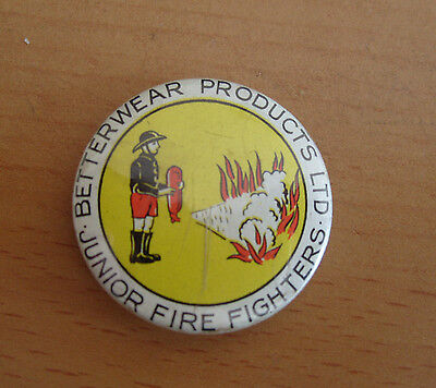 1970's Betterwear Products Junior Fire Fighters Advertising Pin Badge