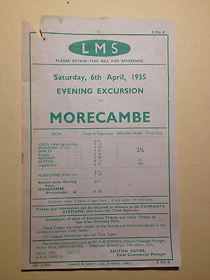 Handbill - LMS - 6th April 1935 Evening Excursion to Morecambe