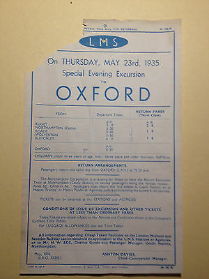 Handbill - LMS - 23rd May 1935 Special Evening Excursion to Oxford