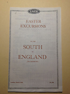 Handbill - LNER - 1928 Easter Excursions to the South of England (Via Banbury)