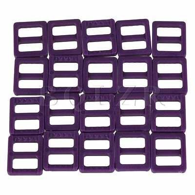 20 x Purple Plastic Tri-ring Buckles for Luggage Bags and Clothing 10mm
