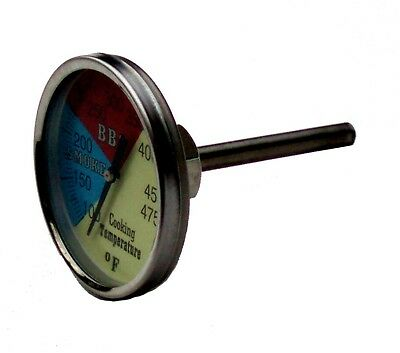 Old Smokey Heavy Duty Stainless Steel Glass Dial Face Round Grill Thermometer