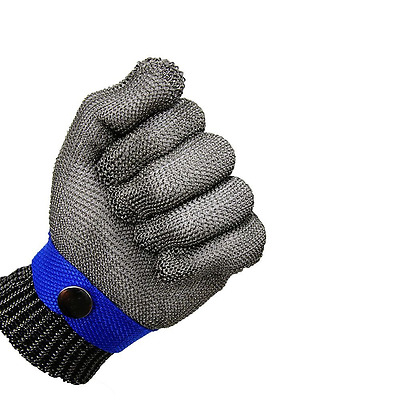 Blue Safety Cut Proof Stab Resistant Stainless Steel Metal Mesh Butcher Glove Hi