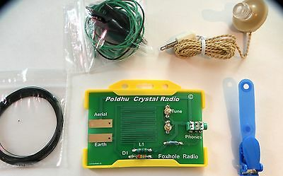 Crystal radio germanium diode with headphones + aerial assembled  yellow holder