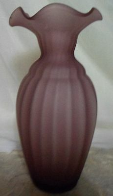 """Vintage Frosted Smoky Amethyst Panel Art Glass Floral Bud Vase Ruffle Brim 8"""""""