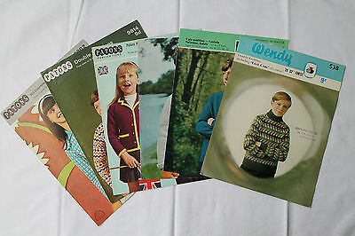 6 Vintage Knitting Patterns, Children's Jumpers/Sweaters/Cardigans/Blazers