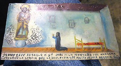 Original Vintage Exvoto On Tin Woman Thanking Our Lord Of The Mountain For Favor