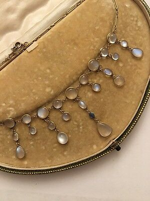 Antique Victorian Moonstone And Sapphire Yellow Gold Necklace Pendant
