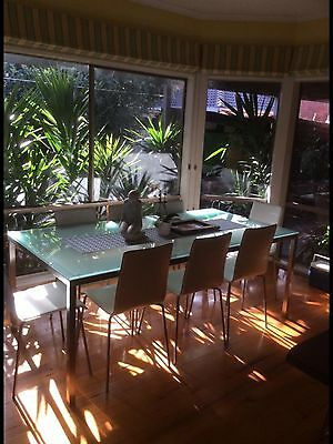 Frosted Glass And Aluminium Table And 8 White Leather Chairs.