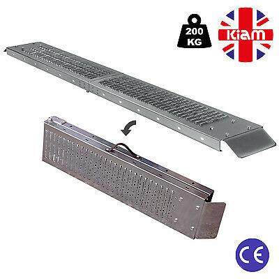 Pair 1.8M Steel Folding Loading Ramp Set Motorbike Lawn Mower Mobility Scooter