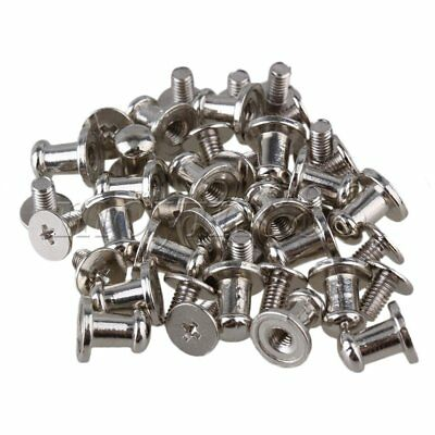 20pcs Cloth Silver Zinc Alloy Studs Screw Round Head Screws Button Nail Rivets