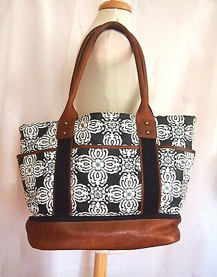 POTTERY BARN KIDS Mod Floral SAUSALITO Classic DIAPER BAG Canvas & Leather