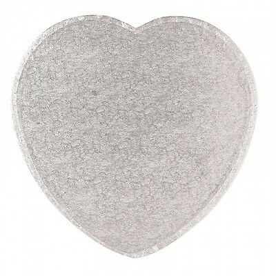 "8"" 10"" 12"" 14"" Inch Silver Heart Shaped Drum Cake Board 12mm Thick"