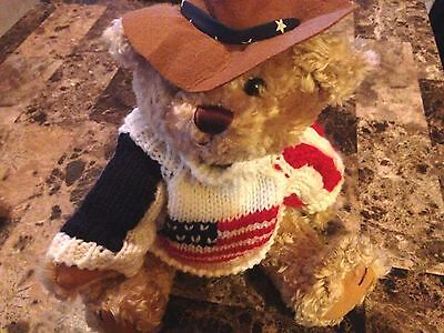 "Brass Button Bear Cowboy Clay American Flag Sweater 12"" Jointed Long Life Bear"