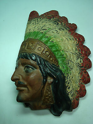 1950s Pottery Chief in Head Dress Wall Bank