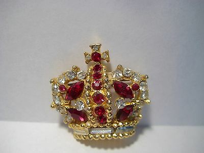 Vintage Bellini Crown With Clear and Ruby Red Rhinestones Brooch