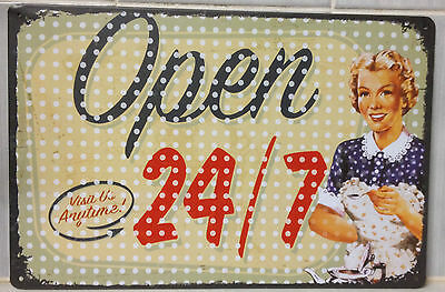 OPEN Tin Metal Sign Rustic Look .. MAN CAVE . brand new. AU SELLER
