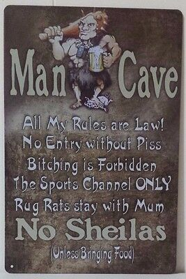 MANCAVE RULES Tin Metal Sign Rustic Look .. MAN CAVE . brand new. AU SELLER