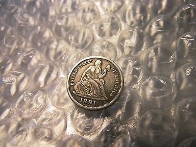 U.S. 1891-P Seated Liberty One (1) Silver Dime Coin