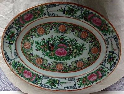 Antique Imperial Chinese Canton Porcelian Charger Platter Famille Rose.