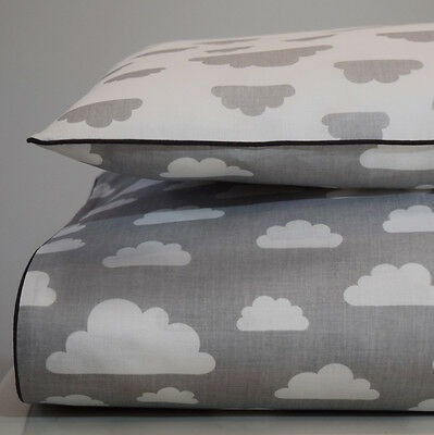 100%COTTON Single Cot   Bed Duvet Cover Set Girls Boys Grey Clouds bedding