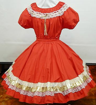 2 Piece Red-White-Gold Square Dance Dress