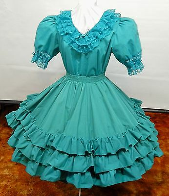 2 Piece Teal Green Square Dance Dress