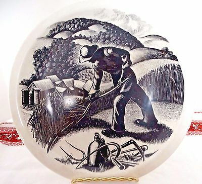"""Vtg Wedgwood NEW ENGLAND INDUSTRIES Plate Clare Leighton FARMING 10.5"""" Mint"""