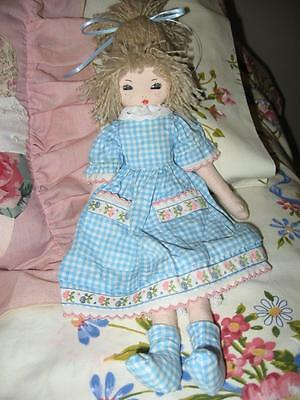 2 Handmade Cloth Dolls-so cute hand painted faces. Vintage in Blue Check