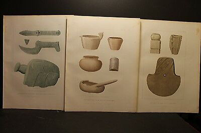 Seth Eastman, South Carolina Indian Stone & Wood Implements, Sepia liths 1852