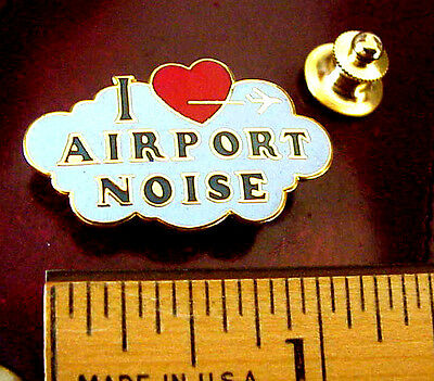 """Airport Red Heart Jet Airline """"i Love Airport Noise!"""" Humorous Novelty Pin"""