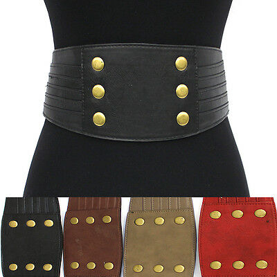 WOMEN Western Fashion ELASTIC Stretch Vintage Corset WAIST WIDE BELT Gold metal