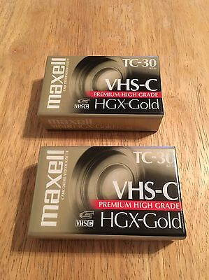 Maxell VHS-C Premium High Grade HGX-Gold Brand New Sealed Lot Of 2