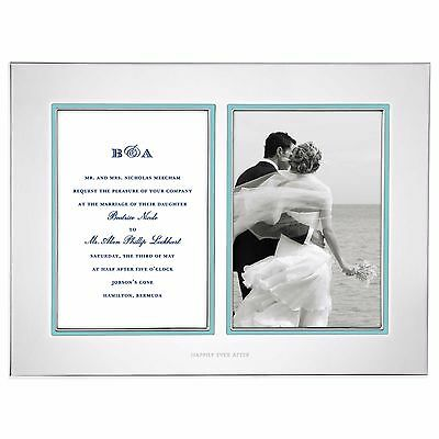 Kate Spade Charming Elegant Silver-Plated Blue Double Invitation Picture Frame