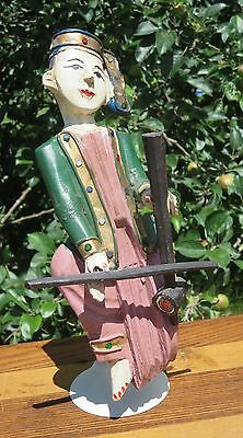 Carved Wood Statue Asian Musician Figure Wooden Carving Vintage Music Sculpture