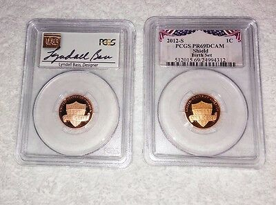 TWO- 2012-S 1C Shield RD (Proof) Lincoln Cent PCGS DCAM Lyndall Bass signed