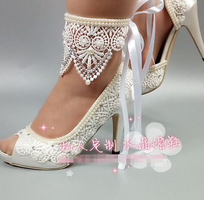 "3""4"" heel satin white ivory lace ribbon ankle open toe Wedding shoes size 5-9.5"