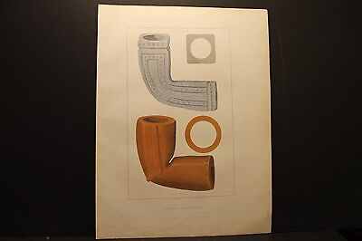 Seth Eastman, Indian Clay Pipes From South Carolina, 2 color lith, 1852