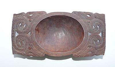 Vintage Trobriand Island Footed Bowl  With Elaborate Carving & Lovely Surface
