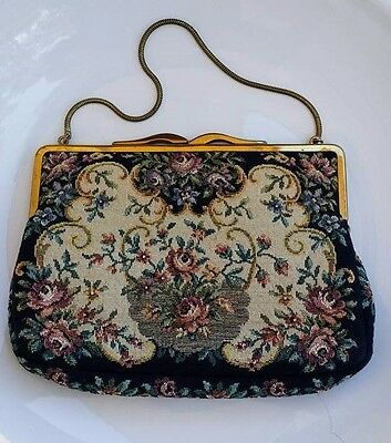 Vintage floral tapestry small purse made in Western Germany
