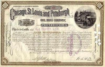 1883 Chicago St Louis & Pittsburgh RR Stock Certificate