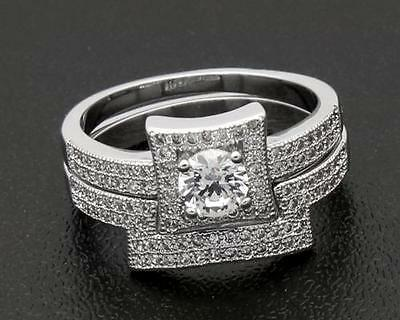 Genuine 2.56 Carat  Diamond 14kt White Gold  Couple Nice  Rings Size9