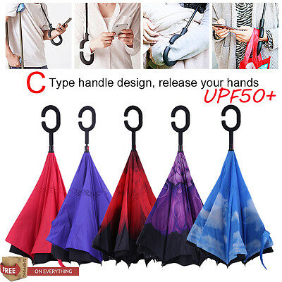 Windproof Double Layer Upside Down Inside Inverted Umbrella Reverse C-Handle WA
