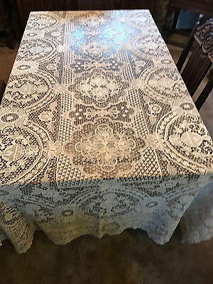 Antique Italian handmade lace tablecloth needle lace
