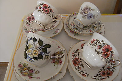 High Tea Vintage Bone China Trios - Tea Cup Saucer and Plate Four Mixed sets