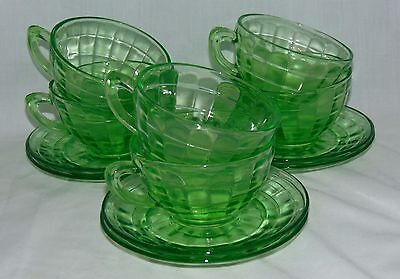 6 Anchor Hocking BLOCK OPTIC GREEN *ROUND PLAIN HANDLE CUPS w/ CUPPED SAUCERS*